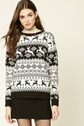 Forever 21 Reindeer Fair Isle Sweater Cream Black