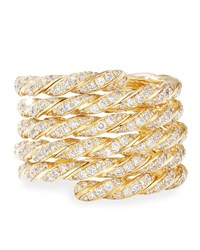 David Yurman Pave Flex 18K Gold Diamond Coil Ring