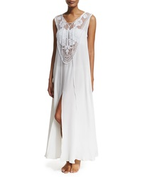 Miguelina Lana Crocheted Maxi Coverup Dress Pure White