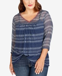 Lucky Brand Trendy Plus Size Sheer Top Blue Multi