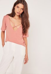 Missguided V Neck Cross Strap Front T Shirt Pink Pink