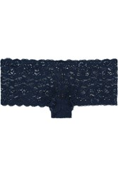 Hanro Moments Stretch Lace Briefs Navy