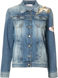 Red Valentino Bird Patches Denim Jacket Blue