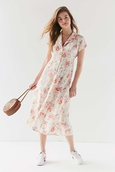 Urban Renewal Remnants Floral Button Down Midi Dress Ivory