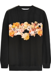 Givenchy Sweatshirt In Black Silk Crepe De Chine With Floral Appliqua