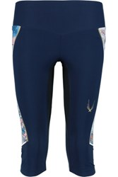 Lucas Hugh Nordica Cropped Stretch Leggings Midnight Blue