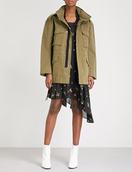 Moandco. Stand Collar Cotton Twill Coat Olive Drab