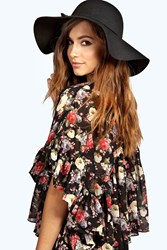 Boohoo Boutique Amber Oversize Wool Floppy Hat Black