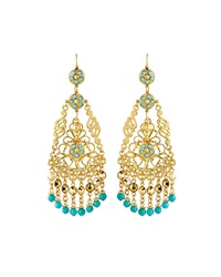 Jose And Maria Barrera Adventurine Tapered Chandelier Earrings