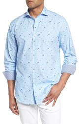 Bugatchi Classic Fit Fisherman Print Sport Shirt Air Blue