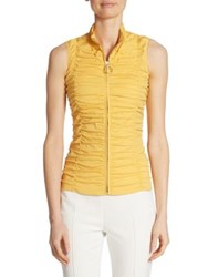Akris Punto Sleeveless Ruched Zip Up Blouse Light Yellow