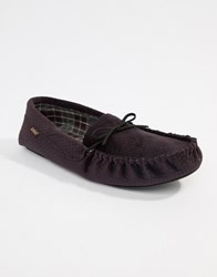 Totes Check Lined Cord Moccasin Slippers Navy Merlot Grey