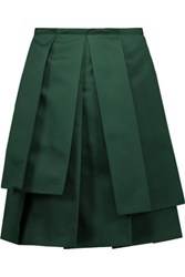 Rochas Pleated Satin Skirt Dark Green