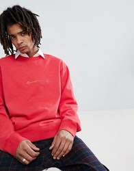 Mennace Sweat With Logo In Coral Red