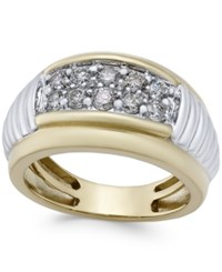 Macy's Men's Diamond Two Tone Band 1 Ct. T.W. In 10K Gold And White Gold Two Tone