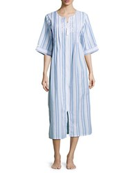 Miss Elaine Cotton Blend Striped Night Gown Blue Pink