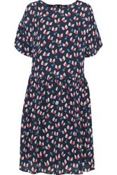 Chinti And Parker Woman Gathered Printed Silk Crepe De Chine Dress Navy