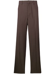 Christophe Lemaire Woven Straight Leg Trousers Brown