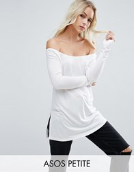 Asos Petite Off Shoulder Slouchy Top With Side Split White