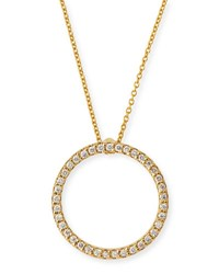 Roberto Coin Pave Circle Necklace Yellow Gold