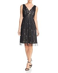 Adrianna Papell Mesh And Lace Dress Black Pale Pink