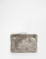 Oasis Faux Fur Clutch Bag Grey