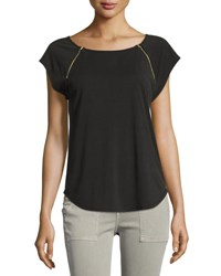 Casual Couture Zip Embellished Short Sleeve Tee Charcoal