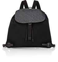 Bottega Veneta Men's Intrecciato Flap Drawstring Backpack Black