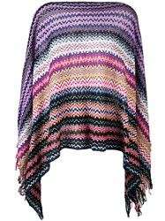 Missoni Zig Zag Crochet Knit Cardigan Women Cotton One Size Pink Purple