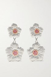 Buccellati Gardenia Sterling Silver And Pink Gold Vermeil Sapphire Earrings One Size
