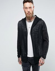 Asos Knitted Hooded Cardigan In Sheer Yarn Black