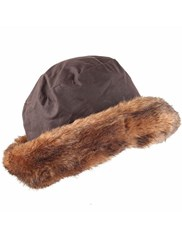 Dents Ladies Wax Cotton Hat With Faux Fur Brim Brown