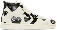 Comme Des Garcons White Heart Print Converse Edition High Top Sneakers