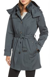 London Fog Women's Short Trench Coat Slate