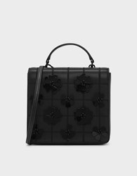 Charles And Keith Floral Embellishment Quilted Bag Black