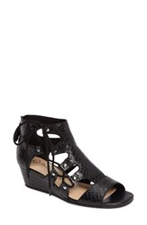 Bella Vita Women's Imani Wedge Sandal Black Snake Print