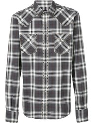 Dolce And Gabbana Checked Studded Shirt Cotton Polyurethane Brass White