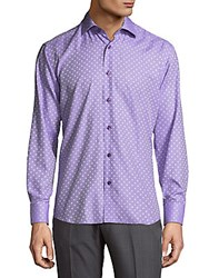 Bertigo Polka Dot Cotton Button Down Shirt Purple