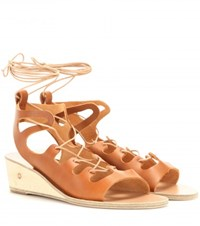 Ancient Greek Sandals Antigone Leather Wedge Sandals Brown
