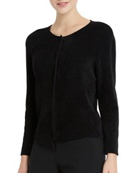 Ellen Tracy Chenille Long Sleeve Cardigan Black