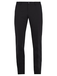 Dolce And Gabbana Slim Fit Stretch Wool Blend Trousers Navy