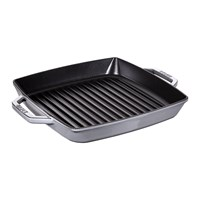 Staub Double Handle Square Grill 28Cm Graphite Grey