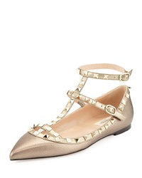 Valentino Rockstud Caged Ballerina Flat Light Gold