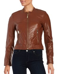 Vince Camuto Front Zip Leather Moto Jacket Cognac