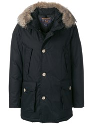 Woolrich Hoodd Padded Jacket Cotton Feather Down Polyamide Coyote Fur M Black