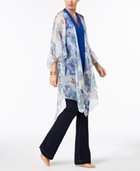 Inc International Concepts I.N.C. Ruffled Floral Cover Up And Wrap Created For Macy's Blue