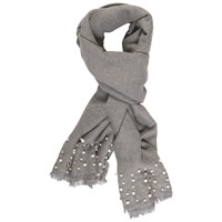 Chesca Pearl Beaded Pashmina Grey
