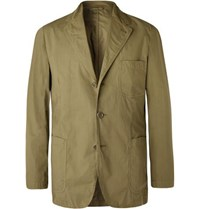 Aspesi Army Green Slim Fit Unstructured Garment Dyed Cotton Blazer Army Green