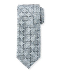 Brioni Woven Tiles Silk Tie Red Blue