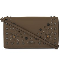 Coach Western Rivet Leather Cross Body Bag Dk Fatigue